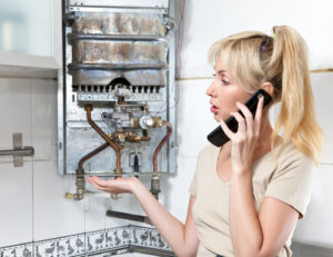 Woman with a broken boiler